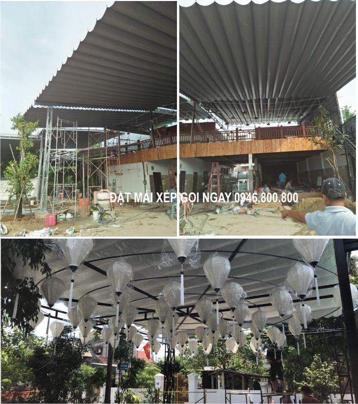 mái xếp kéo lùa lượn sóng bạt che nắng mưa ngoài trời tại Hải Dương, Hưng Yên
