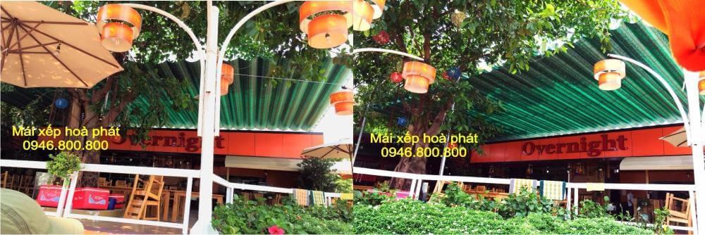 Mái bạt xếp lượn sóng nhà hàng che nắng mưa ngoài trời tại Hải Dương, Hưng Yên